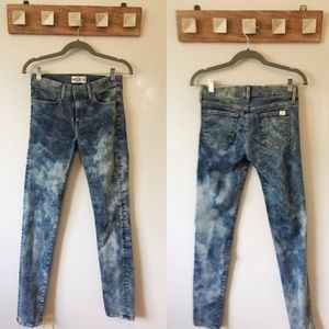 Wildfox Marianne Acid Wash Mid Rise Skinny Jeans